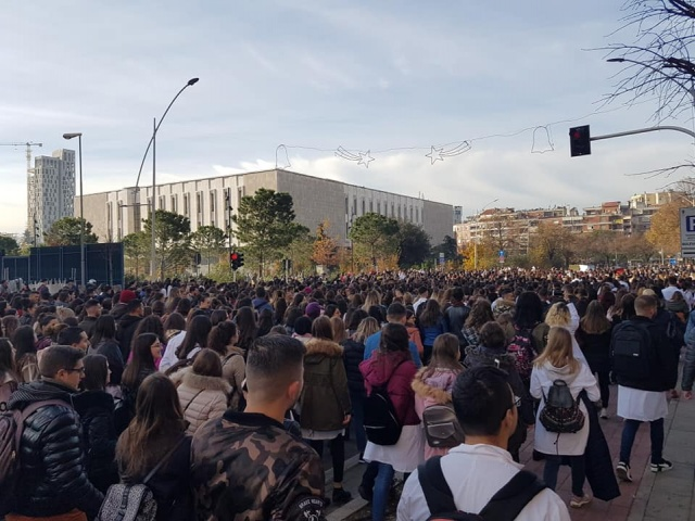 The students meeting has started in front of the University Corps, and then with banners in their hands they have marched towards the Ministry of Education.