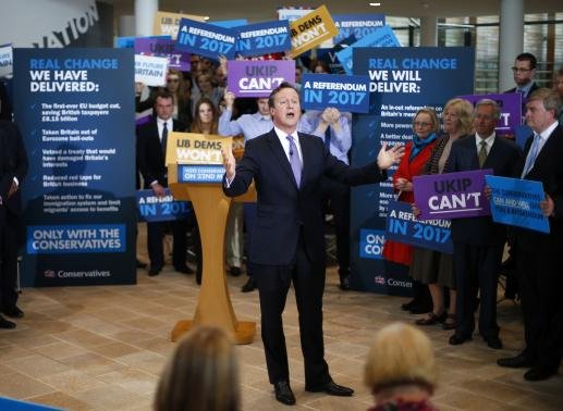 Cameron's party in poll lead for first time in over two years
