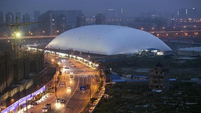 Chinese city erects giant dome over stinky former factory