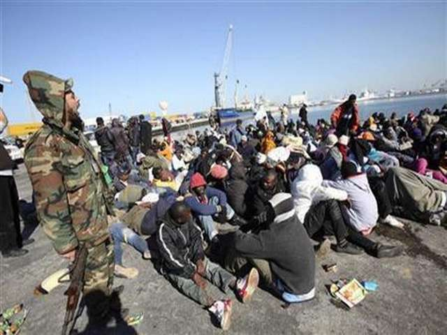 Libyan coastguard detains 114 African migrants in packed boat