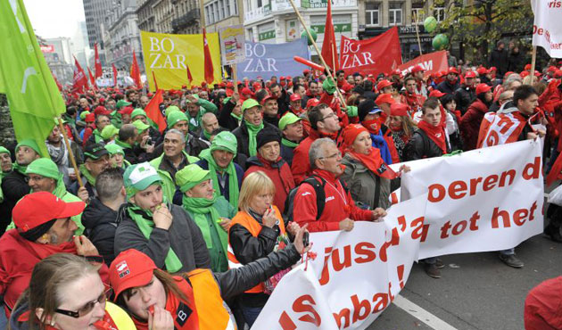 Thousands of Belgians protest against austerity measures