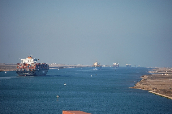 Ship collision delays traffic in Suez Canal