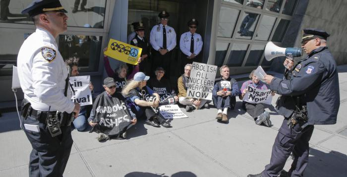 UN nuclear weapons conference draws protests