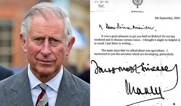 Prince Charles' letters to ministers made public