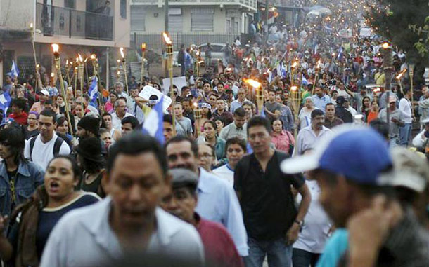 Honduras protestors protest govt. corruption