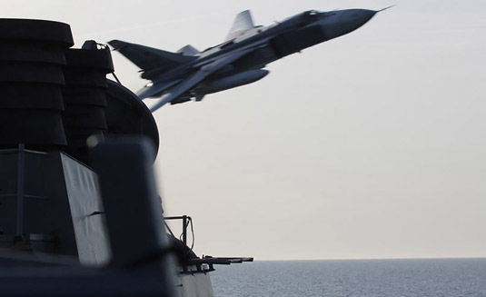 Russia denies wrongdoing over US warship flyby