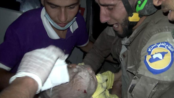 One-month-old baby survives airstrike in Syria's Idlib