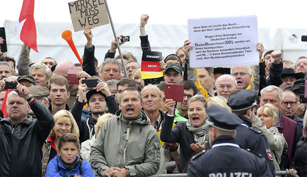 Far-right protests overshadow German Unity Day