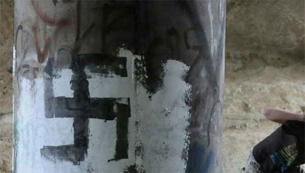 French slavery monument vandalised with Nazi slogan