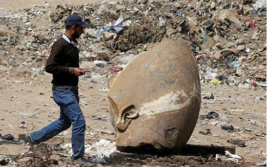 Ramses II Pharaoh statues found in muddy Cairo pit