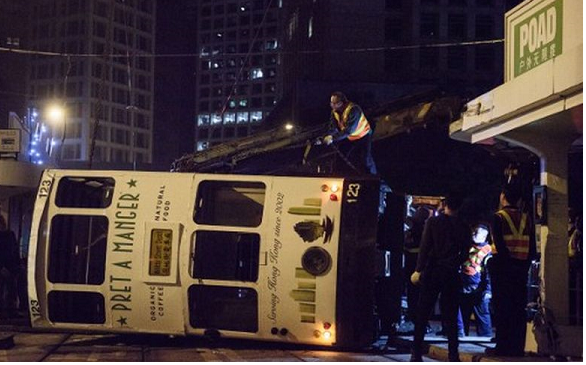 14 injured after Hong Kong tram tips over