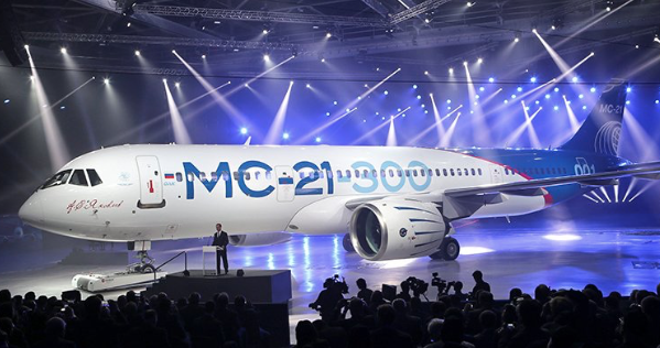 New Russian jet takes to air in bid to rival Airbus and Boeing