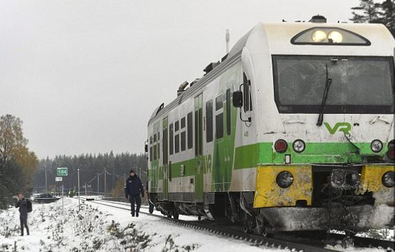 Train smashes into a military truck in Finland