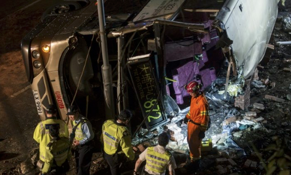 Hong Kong police probe deadly bus accident