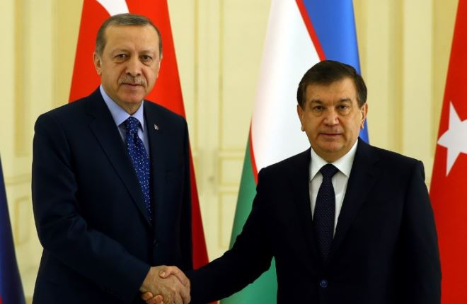 Turkish, Uzbek presidents meet for official talks