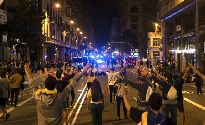 Protests held in Barcelona as Catalonia referendum marks first year