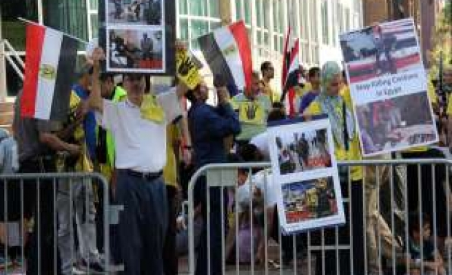 Egyptians in US hold rival protests