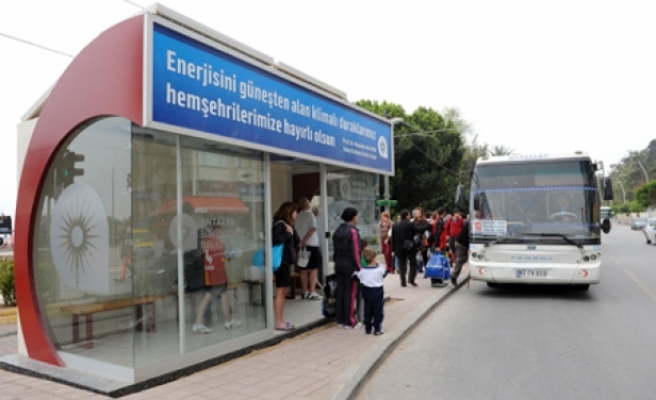 Air conditioned bus stops in Turkey's Antalya