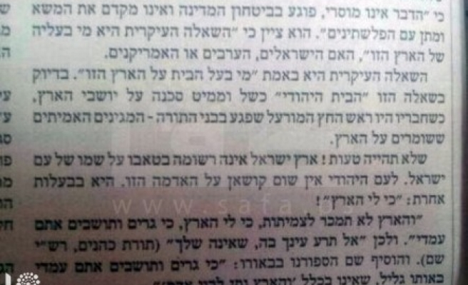 Palestinian land doesn't belong to the Jews- Israeli paper