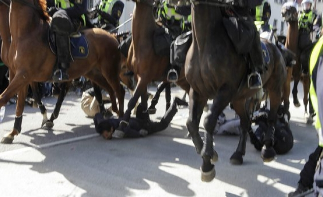 Protesters injured by mounted police in Sweden
