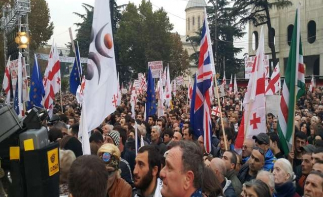 Georgians protest Russia-Abkhazia joint military forces