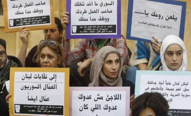 Lebanese protest treatment of Syrian refugees
