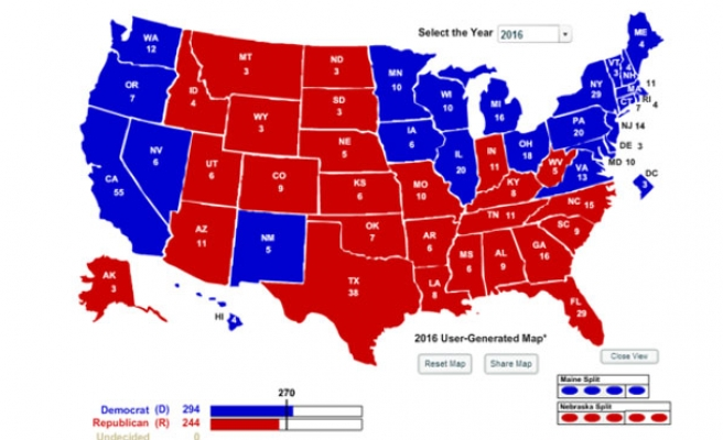 Electoral College map 2016 projection: Hillary C. 294