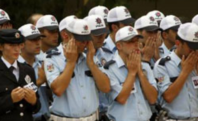 Funeral for 3 Turkish policemen killed in shootout
