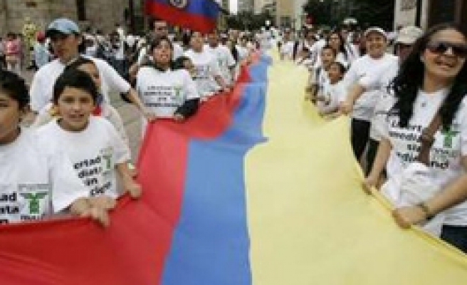 Colombians take to streets to protest kidnappings