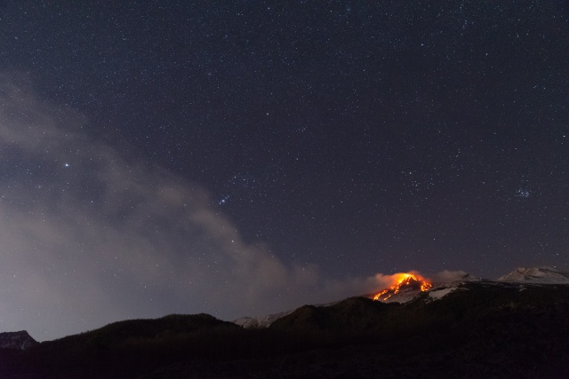 A photo taken from the village of Milo near Catania shows eruption from at Mount Etna, characterized by a strombolian activity on the top of the volcano and lava flows along the entire Southeast crater on January 19, 2021.