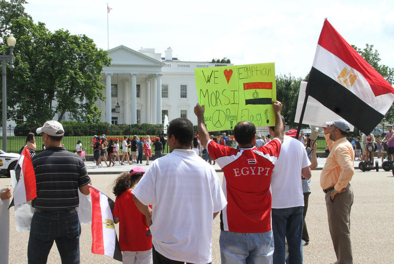 Supporters of Morsi protest in front of White House