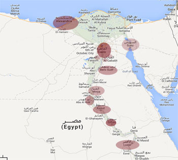 Egyptians spark massive protests: map