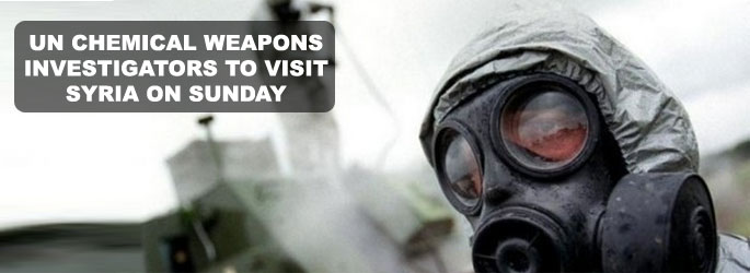 UN chemical weapons investigators to visit Syria on Sunday