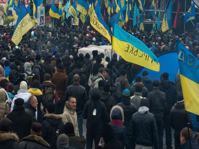 First mass rally in Ukraine in 2014