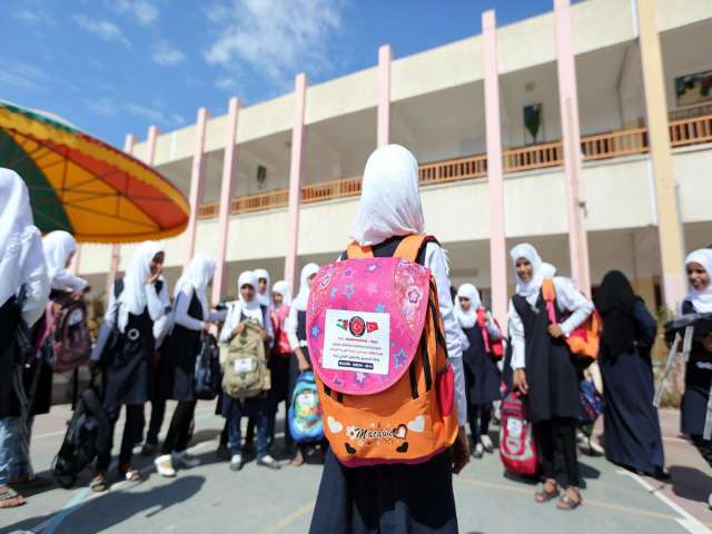 Turkish charity distributes schoolbags in Gaza