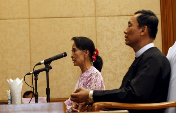 Myanmar's ousted ruling party leader meets Suu Kyi