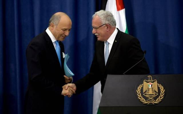 French FM receives Palestinian counterpart