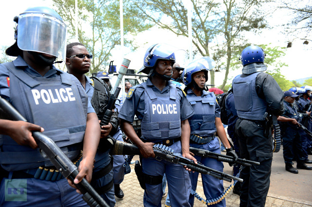 S. African police fire rubber bullets at school protest