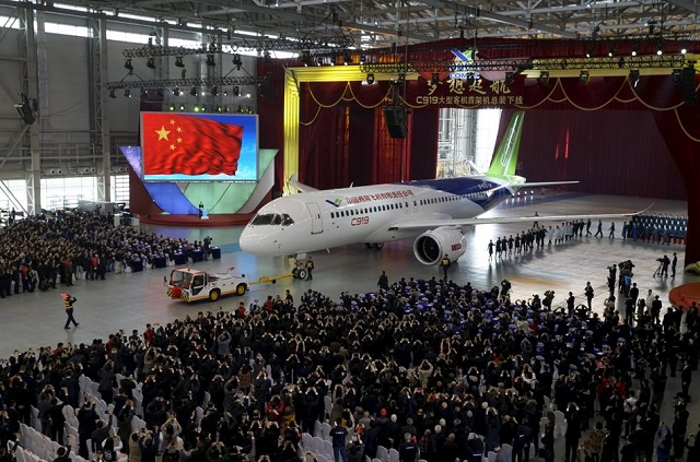 China unveils first large passenger plane