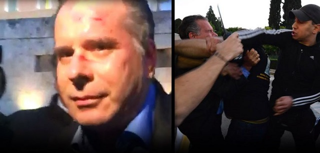 Greek MP attacked at protests