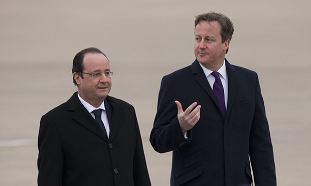 Hollande, Cameron visit attacked Paris concert hall
