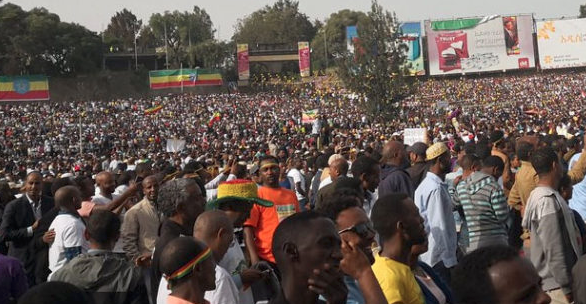 Blast at Ethiopian PM's rally sparks panic