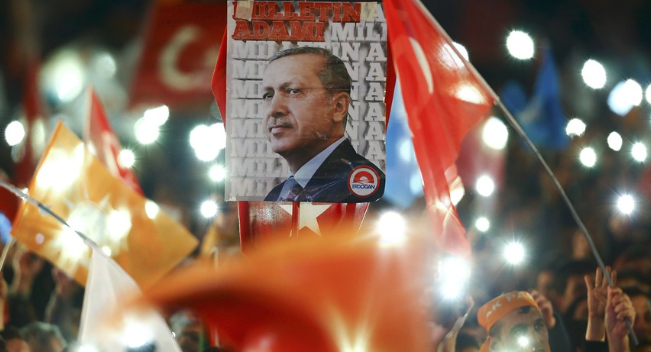 Turkish AK Party supporters celebrate election victory