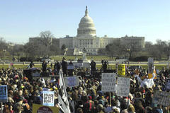 Tens of thousands of Americans tell Bush 'enough is enough'