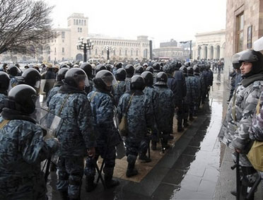 Armenian riot police break up election protest