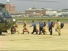 British military personnel arrive home