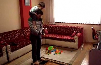 Lovely moments of father and son during prayer