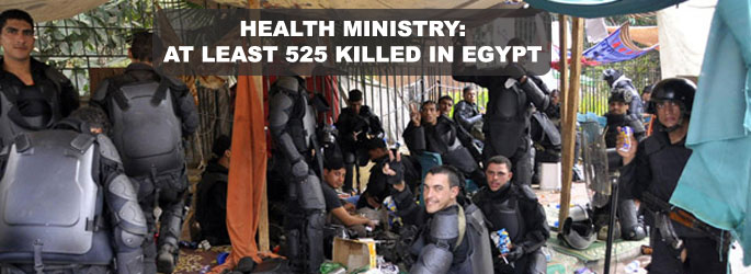 Health Ministry: At least 525 killed in Egypt