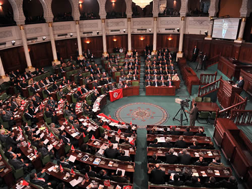 Tunisia's first parliament after revolution convenes, Marzouki absent