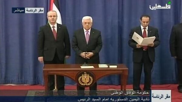 Palestinian President Abbas swears in unity government- UPDATED